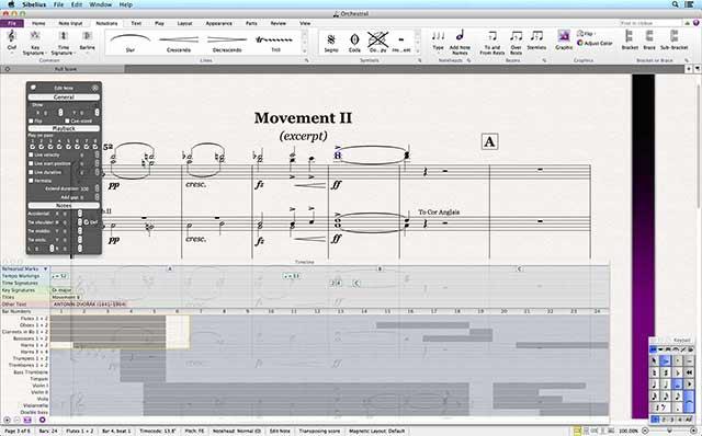 Sibelius 7.5 Main GUI Timeline