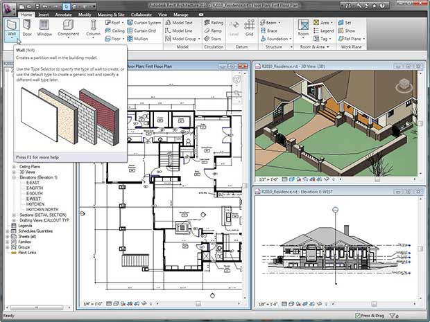 Revit 2014 workspace