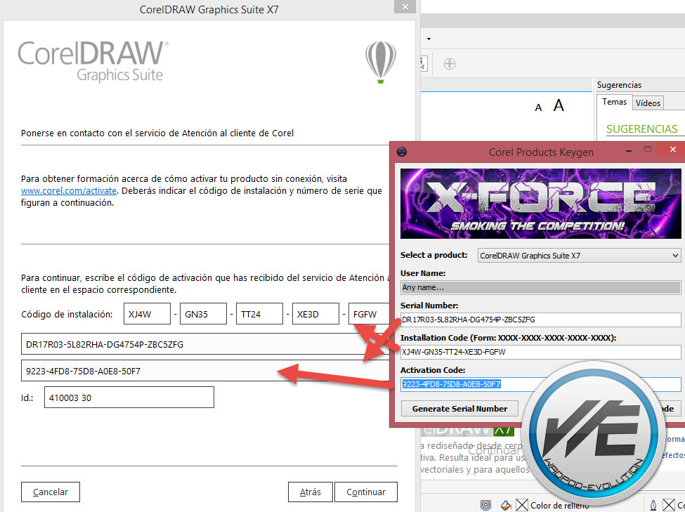COREL DRAW X7 SERIAL NUMBER AND ACTIVATION CODE