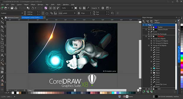 CorelDRAW x8 screen