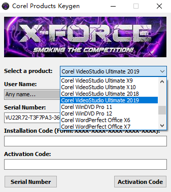 xforce keygen for VideoStudio 2019